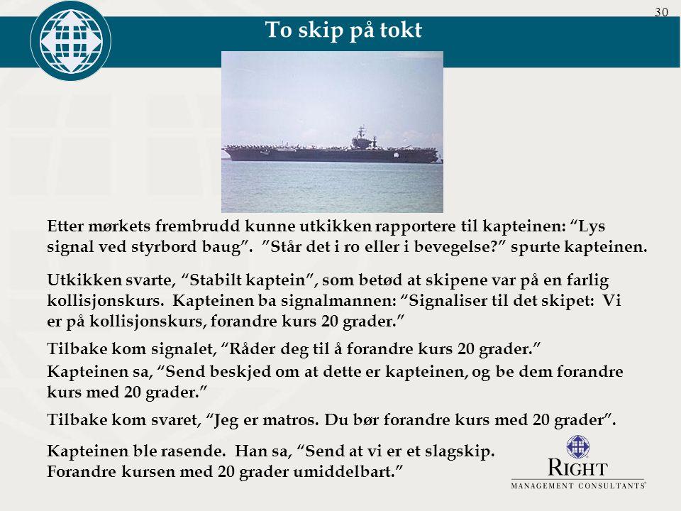 """30 Etter mørkets frembrudd kunne utkikken rapportere til kapteinen: """"Lys signal ved styrbord baug"""". """"Står det i ro eller i bevegelse?"""" spurte kapteine"""