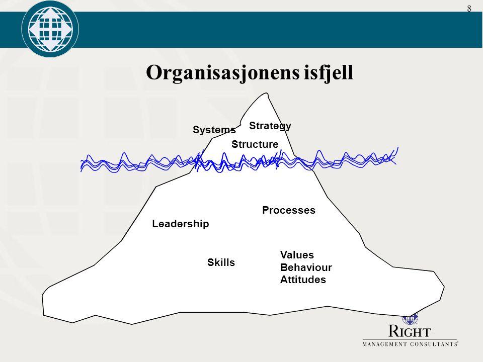 8 Organisasjonens isfjell Systems Structure Strategy Processes Leadership Skills Values Behaviour Attitudes