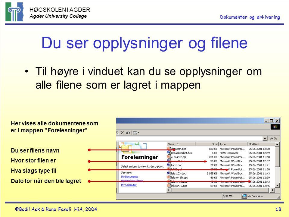 HØGSKOLEN I AGDER Agder University College ©Bodil Ask & Rune Fensli, HiA, 200413 Dokumenter og arkivering Du ser opplysninger og filene •Til høyre i v