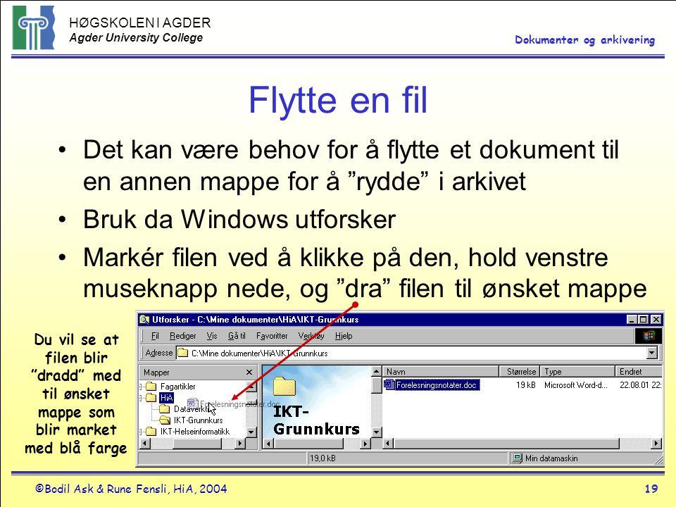 HØGSKOLEN I AGDER Agder University College ©Bodil Ask & Rune Fensli, HiA, 200419 Dokumenter og arkivering Flytte en fil •Det kan være behov for å flyt