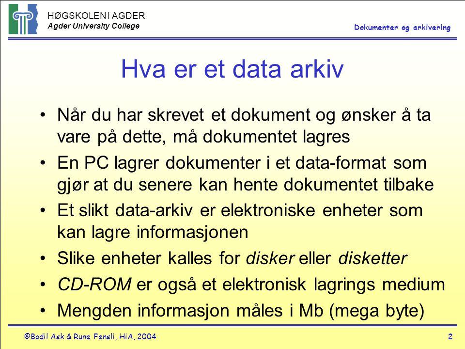 HØGSKOLEN I AGDER Agder University College ©Bodil Ask & Rune Fensli, HiA, 20042 Dokumenter og arkivering Hva er et data arkiv •Når du har skrevet et dokument og ønsker å ta vare på dette, må dokumentet lagres •En PC lagrer dokumenter i et data-format som gjør at du senere kan hente dokumentet tilbake •Et slikt data-arkiv er elektroniske enheter som kan lagre informasjonen •Slike enheter kalles for disker eller disketter •CD-ROM er også et elektronisk lagrings medium •Mengden informasjon måles i Mb (mega byte)