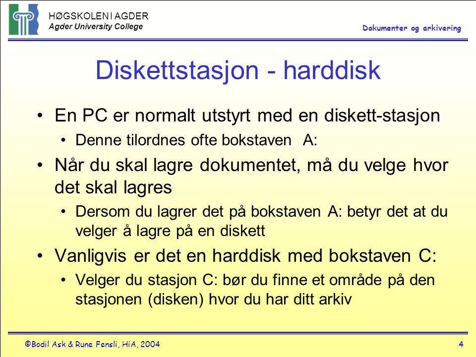 HØGSKOLEN I AGDER Agder University College ©Bodil Ask & Rune Fensli, HiA, 20044 Dokumenter og arkivering Diskettstasjon - harddisk •En PC er normalt utstyrt med en diskett-stasjon •Denne tilordnes ofte bokstaven A: •Når du skal lagre dokumentet, må du velge hvor det skal lagres •Dersom du lagrer det på bokstaven A: betyr det at du velger å lagre på en diskett •Vanligvis er det en harddisk med bokstaven C: •Velger du stasjon C: bør du finne et område på den stasjonen (disken) hvor du har ditt arkiv