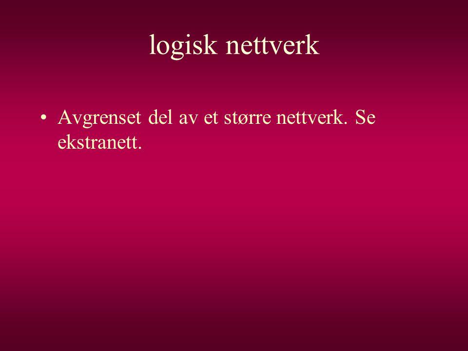 logisk nettverk •Avgrenset del av et større nettverk. Se ekstranett.