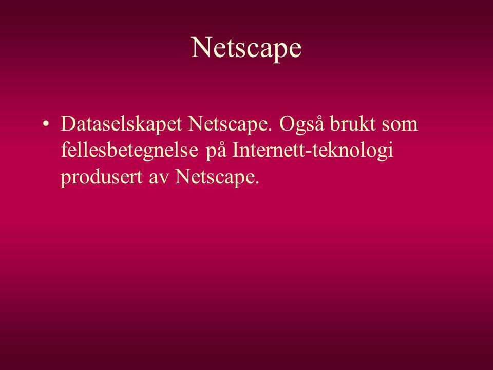 Netscape •Dataselskapet Netscape. Også brukt som fellesbetegnelse på Internett-teknologi produsert av Netscape.
