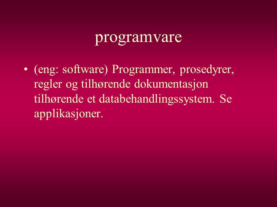 programvare •(eng: software) Programmer, prosedyrer, regler og tilhørende dokumentasjon tilhørende et databehandlingssystem. Se applikasjoner.