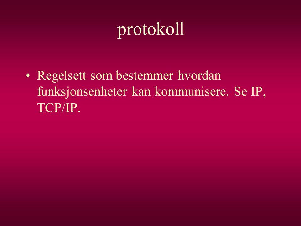 protokoll •Regelsett som bestemmer hvordan funksjonsenheter kan kommunisere. Se IP, TCP/IP.