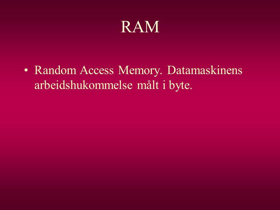 RAM •Random Access Memory. Datamaskinens arbeidshukommelse målt i byte.
