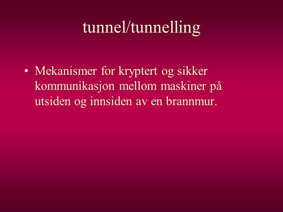 tunnel/tunnelling •Mekanismer for kryptert og sikker kommunikasjon mellom maskiner på utsiden og innsiden av en brannmur.