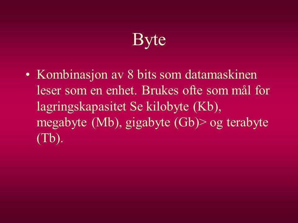 Byte •Kombinasjon av 8 bits som datamaskinen leser som en enhet. Brukes ofte som mål for lagringskapasitet Se kilobyte (Kb), megabyte (Mb), gigabyte (