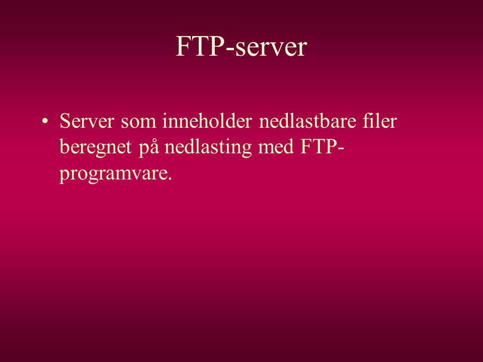 FTP-server •Server som inneholder nedlastbare filer beregnet på nedlasting med FTP- programvare.