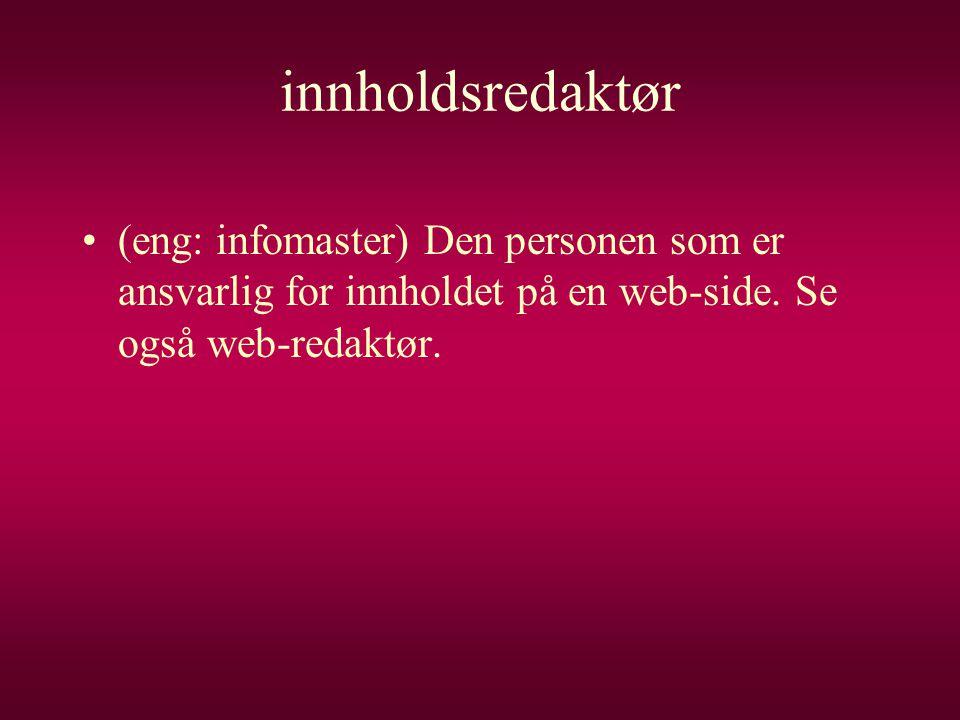 innholdsredaktør •(eng: infomaster) Den personen som er ansvarlig for innholdet på en web-side. Se også web-redaktør.