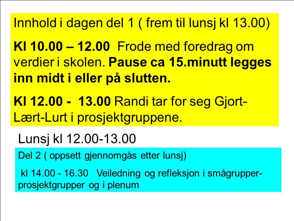 Innhold i dagen del 1 ( frem til lunsj kl 13.00) Kl 10.00 – 12.00 Frode med foredrag om verdier i skolen. Pause ca 15.minutt legges inn midt i eller p