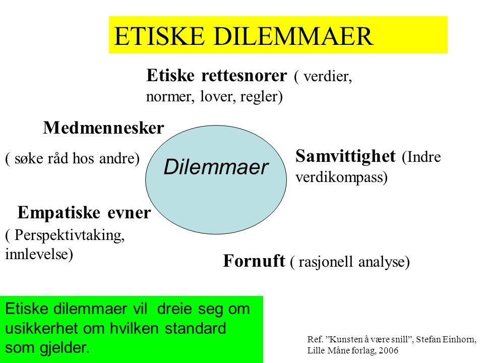 """ETISKE DILEMMAER Ref. """"Kunsten å være snill"""", Stefan Einhorn, Lille Måne forlag, 2006 Etiske rettesnorer ( verdier, normer, lover, regler) Samvittighe"""