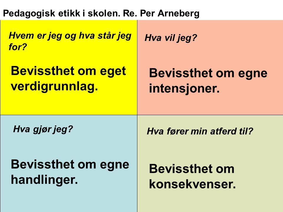 Pedagogisk etikk i skolen. Re. Per Arneberg Hvem er jeg og hva står jeg for? Hva vil jeg? Bevissthet om eget verdigrunnlag. Bevissthet om egne intensj