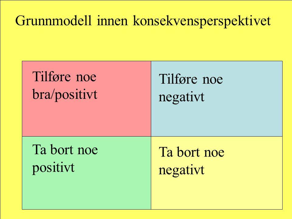 Grunnmodell innen konsekvensperspektivet Tilføre noe bra/positivt Tilføre noe negativt Ta bort noe positivt Ta bort noe negativt