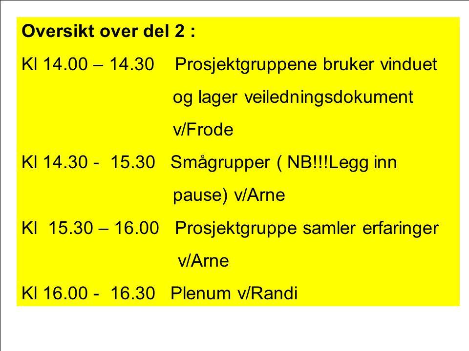 Oversikt over del 2 : Kl 14.00 – 14.30 Prosjektgruppene bruker vinduet og lager veiledningsdokument v/Frode Kl 14.30 - 15.30 Smågrupper ( NB!!!Legg in
