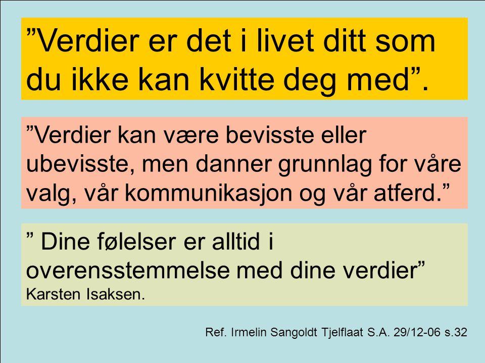 """""""Verdier er det i livet ditt som du ikke kan kvitte deg med"""". Ref. Irmelin Sangoldt Tjelflaat S.A. 29/12-06 s.32 """"Verdier kan være bevisste eller ubev"""