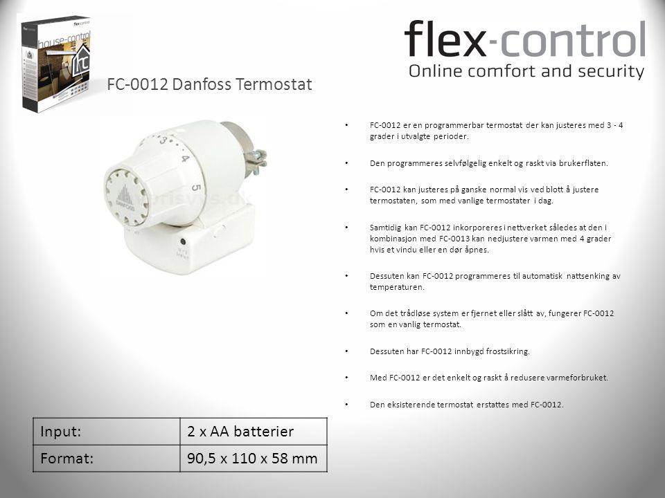 FC-0012 Danfoss Termostat Input:2 x AA batterier Format:90,5 x 110 x 58 mm • FC-0012 er en programmerbar termostat der kan justeres med 3 - 4 grader i