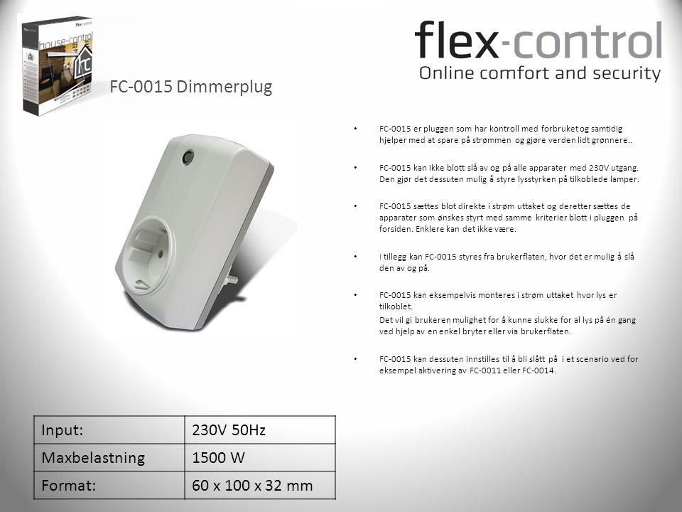 FC-0015 Dimmerplug Input:230V 50Hz Maxbelastning1500 W Format:60 x 100 x 32 mm • FC-0015 er pluggen som har kontroll med forbruket og samtidig hjelper