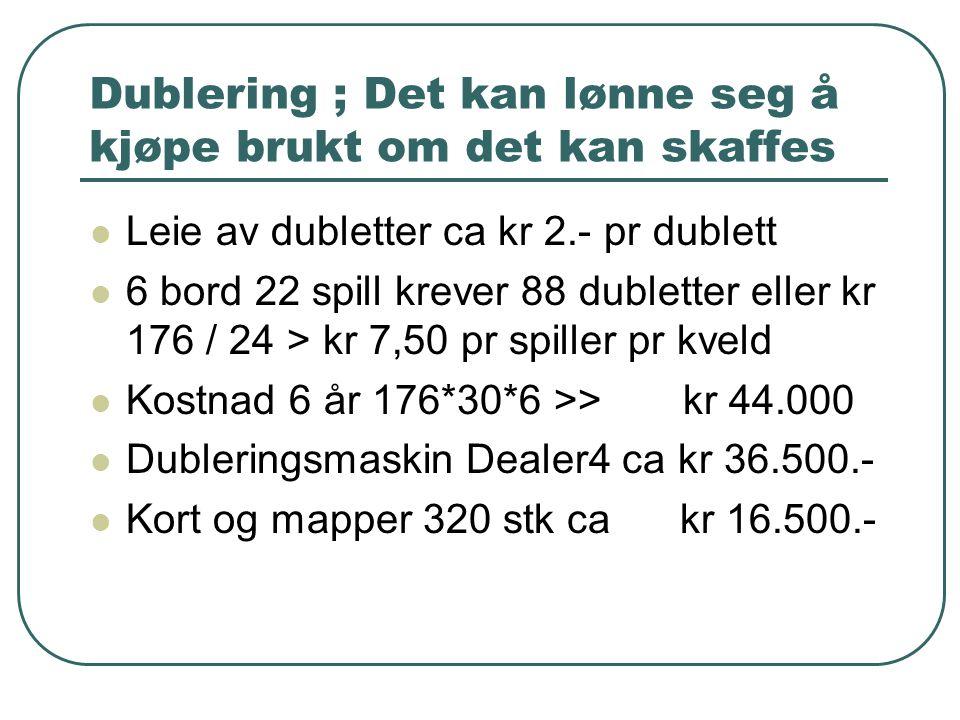 Dublering ; Det kan lønne seg å kjøpe brukt om det kan skaffes  Leie av dubletter ca kr 2.- pr dublett  6 bord 22 spill krever 88 dubletter eller kr