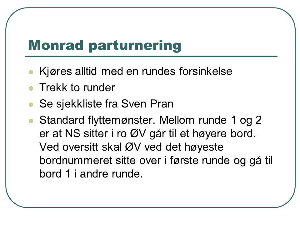 Monrad parturnering  Kjøres alltid med en rundes forsinkelse  Trekk to runder  Se sjekkliste fra Sven Pran  Standard flyttemønster. Mellom runde 1