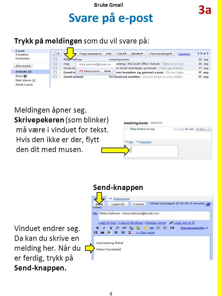 Svare på e-post Trykk på meldingen som du vil svare på: Meldingen åpner seg. Skrivepekeren (som blinker) må være i vinduet for tekst. Hvis den ikke er