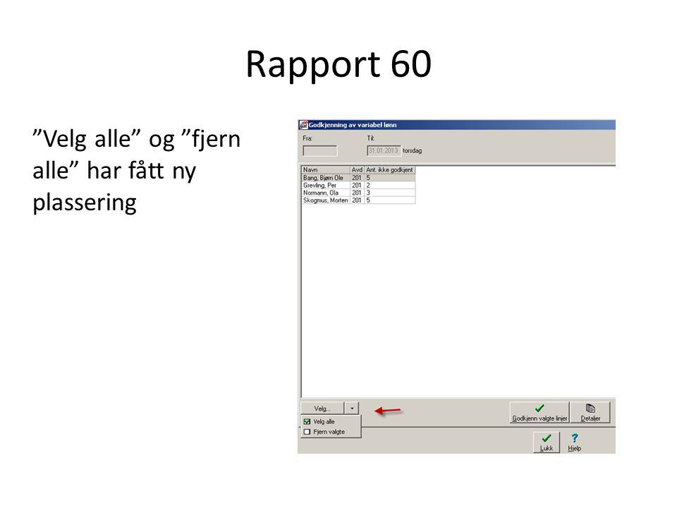 """Rapport 60 """"Velg alle"""" og """"fjern alle"""" har fått ny plassering"""