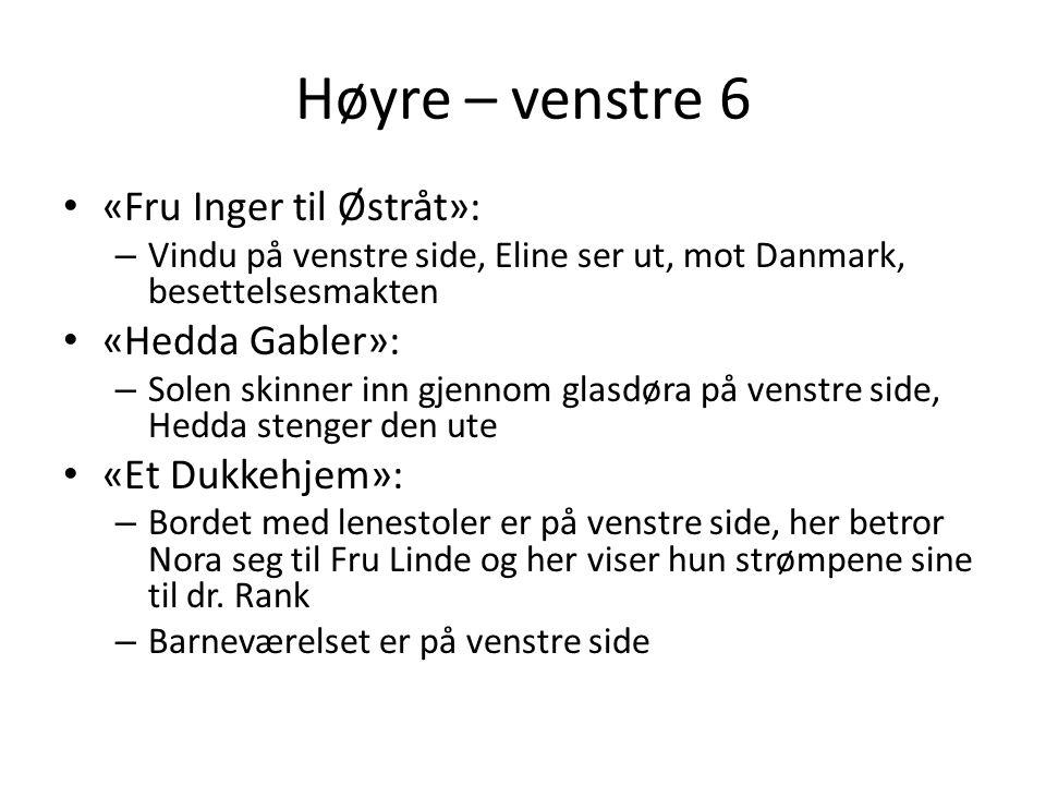 Høyre – venstre 6 • «Fru Inger til Østråt»: – Vindu på venstre side, Eline ser ut, mot Danmark, besettelsesmakten • «Hedda Gabler»: – Solen skinner in