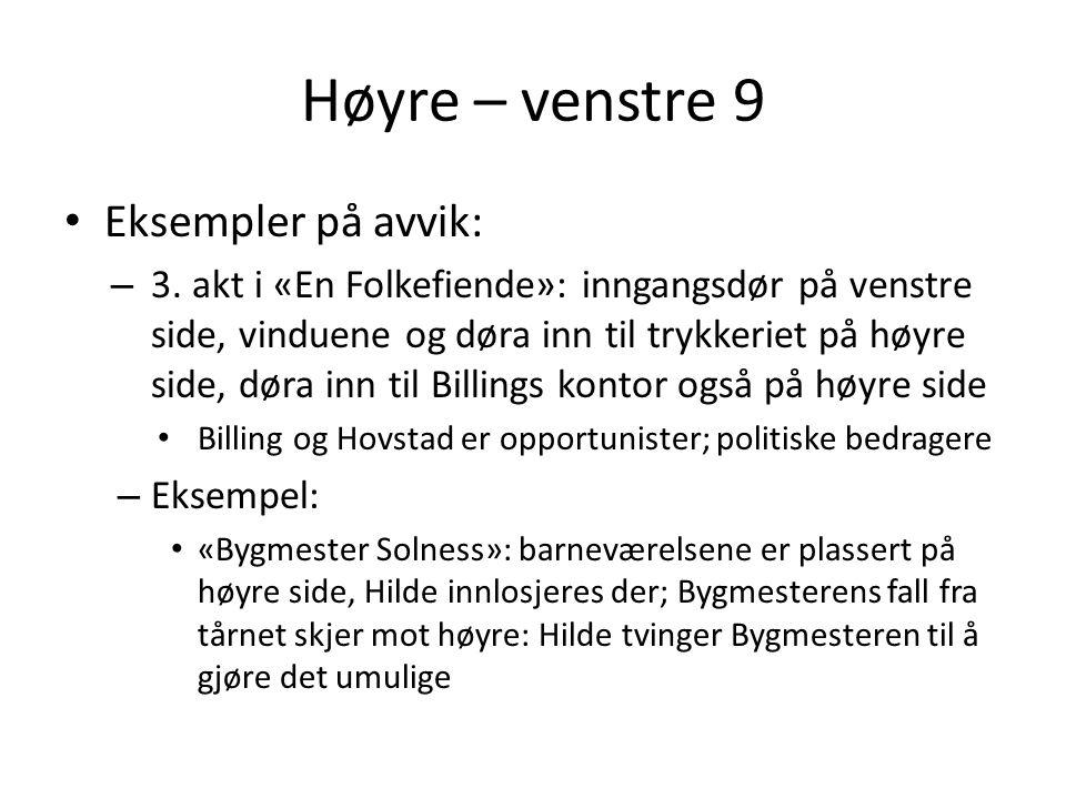 Høyre – venstre 9 • Eksempler på avvik: – 3. akt i «En Folkefiende»: inngangsdør på venstre side, vinduene og døra inn til trykkeriet på høyre side, d