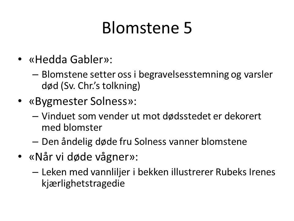 Blomstene 5 • «Hedda Gabler»: – Blomstene setter oss i begravelsesstemning og varsler død (Sv. Chr.'s tolkning) • «Bygmester Solness»: – Vinduet som v