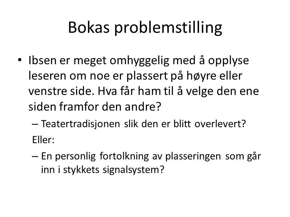 Bokas problemstilling • Ibsen er meget omhyggelig med å opplyse leseren om noe er plassert på høyre eller venstre side. Hva får ham til å velge den en