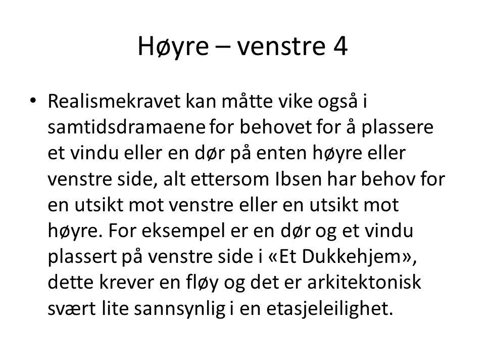 Høyre – venstre 4 • Realismekravet kan måtte vike også i samtidsdramaene for behovet for å plassere et vindu eller en dør på enten høyre eller venstre