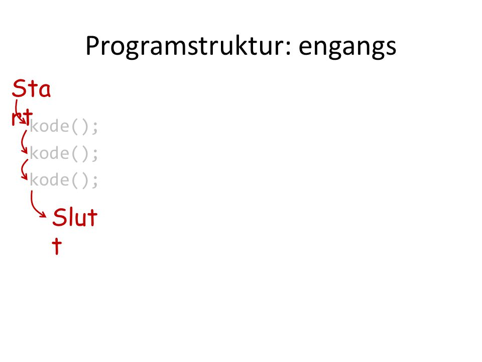 Programstruktur: engangs kode(); Sta rt Slut t