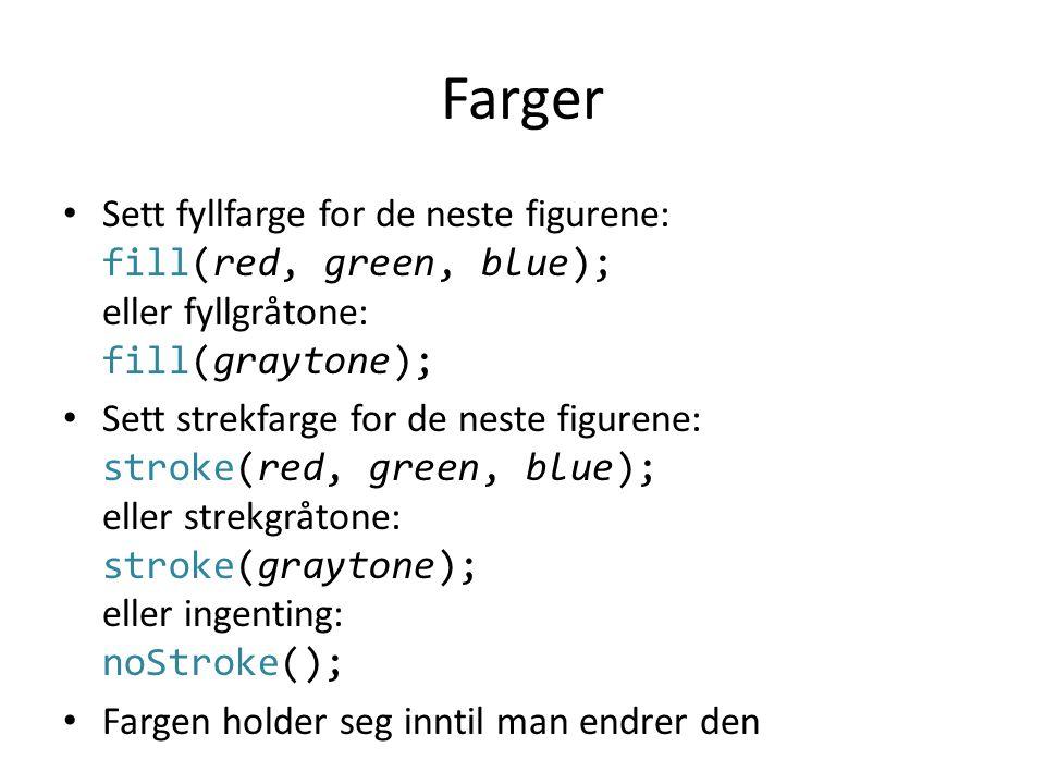 Annet • Strektykkelse: strokeWeight(pixels); • Gjør at draw() bare kjøres én gang: noLoop(); • Enlinjes kommentar: fill(255, 0, 0); // Rødt fyll • Flerlinjes kommentar: fill(255, 0, 0); /* Her setter vi fyllfargen for neste figur */
