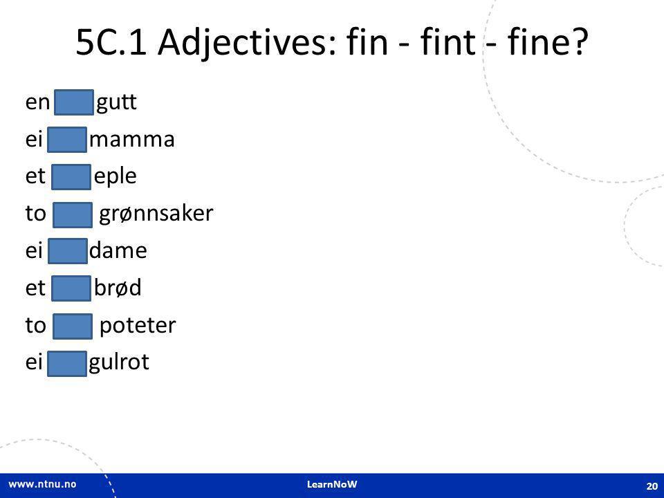 LearnNoW 5C.1 Adjectives: fin - fint - fine? en fin gutt ei fin mamma et fint eple to fine grønnsaker ei fin dame et fint brød to fine poteter ei fin