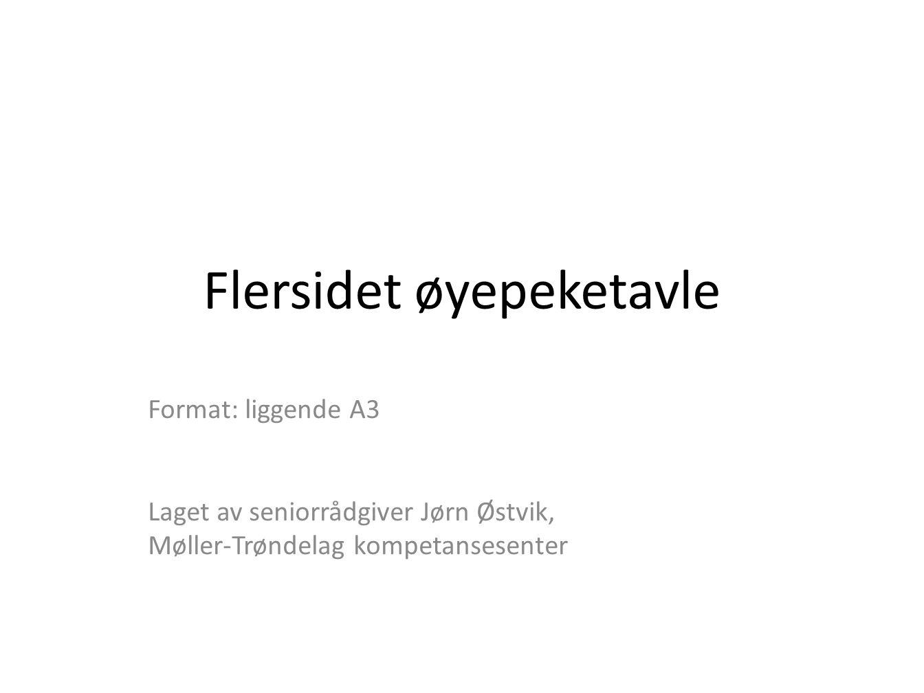 Flersidet øyepeketavle Format: liggende A3 Laget av seniorrådgiver Jørn Østvik, Møller-Trøndelag kompetansesenter