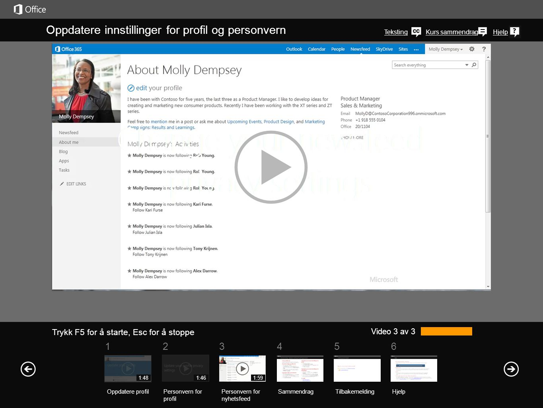 Finne profilen din Du finner en kobling til profilen din øverst i høyre hjørne på nettsidene til organisasjonen i SharePoint 2013 eller Office 365.
