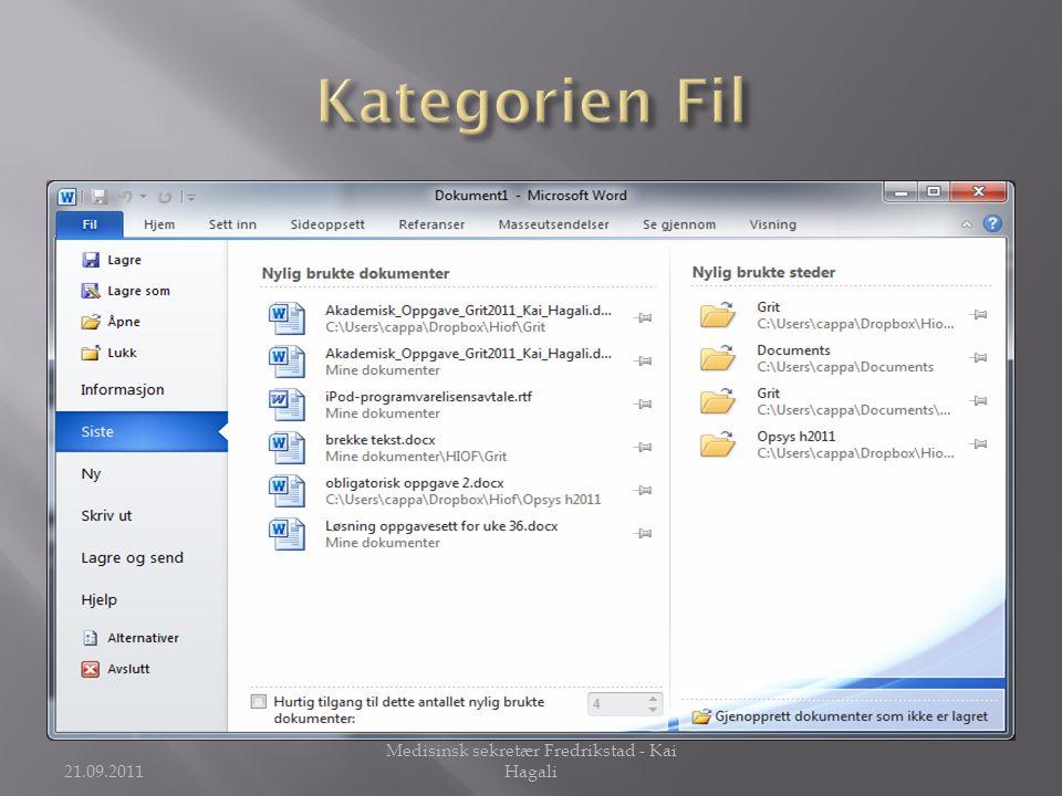 21.09.2011 Medisinsk sekretær Fredrikstad - Kai Hagali