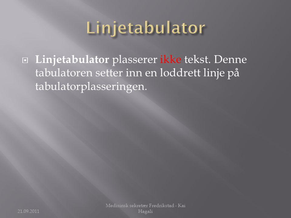  Linjetabulator plasserer ikke tekst.