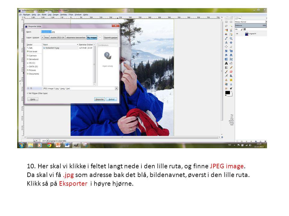 10. Her skal vi klikke i feltet langt nede i den lille ruta, og finne JPEG image. Da skal vi få.jpg som adresse bak det blå, bildenavnet, øverst i den
