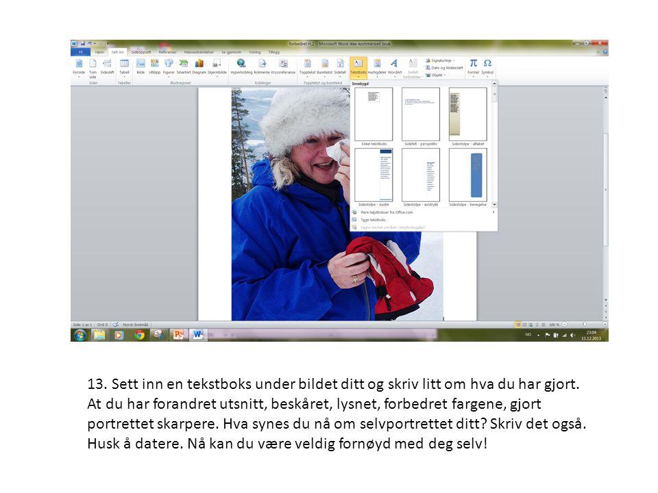13. Sett inn en tekstboks under bildet ditt og skriv litt om hva du har gjort. At du har forandret utsnitt, beskåret, lysnet, forbedret fargene, gjort