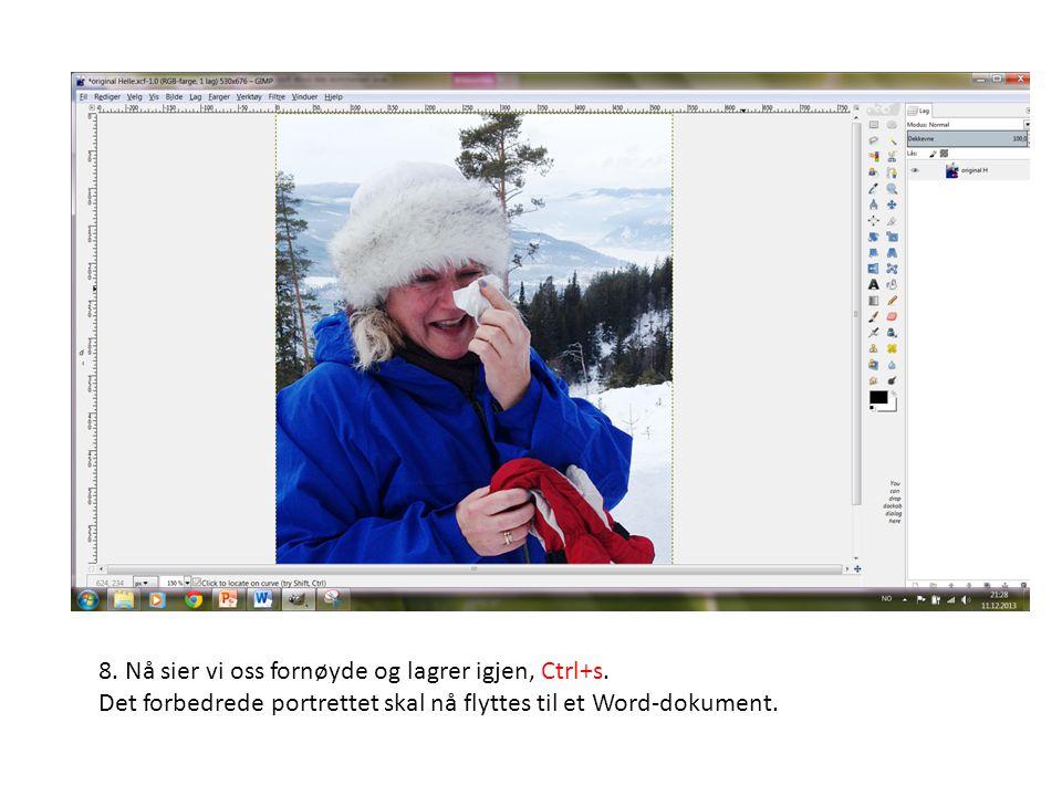 8. Nå sier vi oss fornøyde og lagrer igjen, Ctrl+s. Det forbedrede portrettet skal nå flyttes til et Word-dokument.