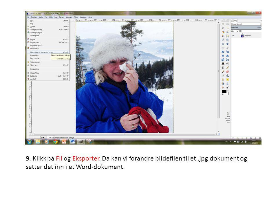 9. Klikk på Fil og Eksporter. Da kan vi forandre bildefilen til et.jpg dokument og setter det inn i et Word-dokument.