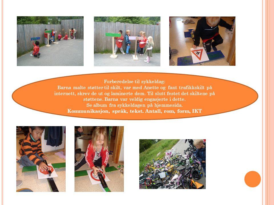 Forberedelse til sykkeldag: Barna malte støtter til skilt, var med Anette og fant trafikkskilt på internett, skrev de ut og laminerte dem.