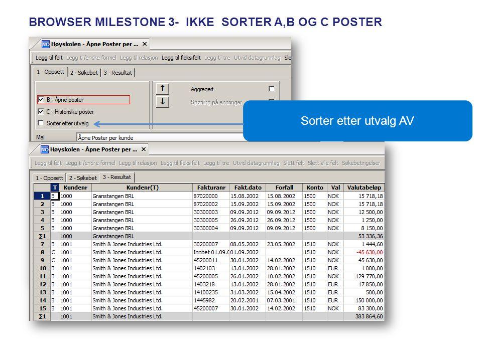 BROWSER MILESTONE 3- IKKE SORTER A,B OG C POSTER Sorter etter utvalg AV