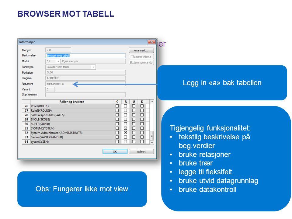 BROWSER MOT TABELL se tekstlig beskrivelse på begrepsverdier bruke relasjoner bruke trær legge til fleksifelt bruke utvid datagrunnlag bruke datakontr