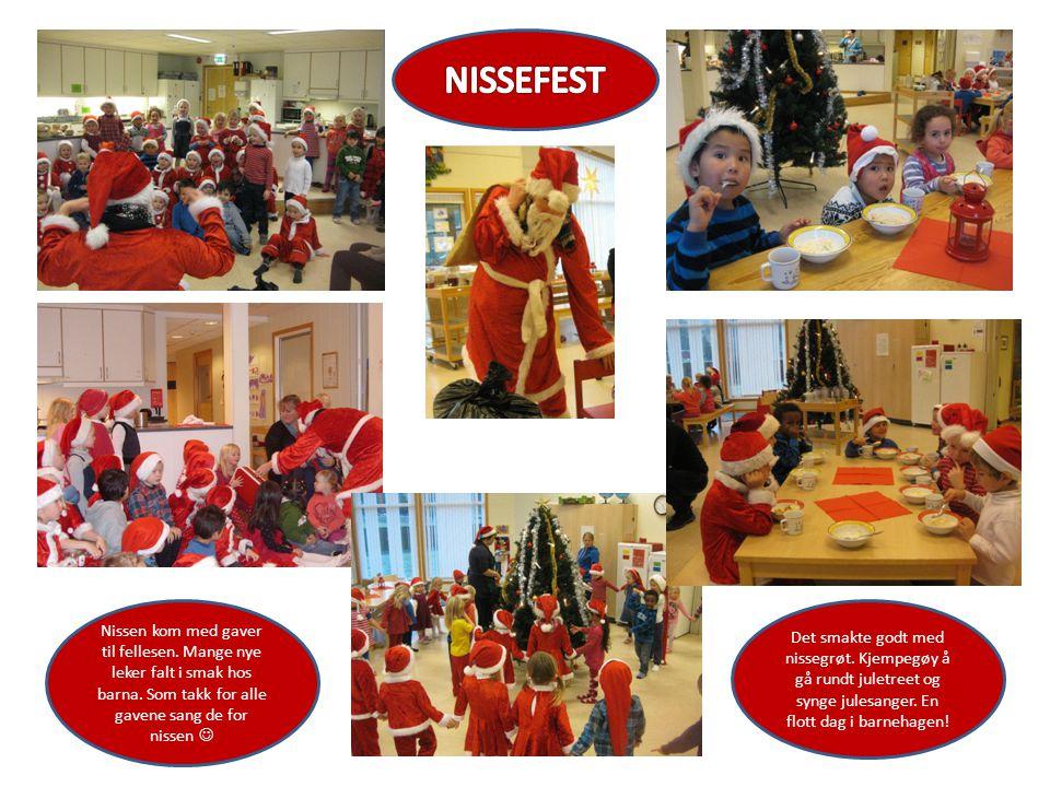 Nissen kom med gaver til fellesen.Mange nye leker falt i smak hos barna.