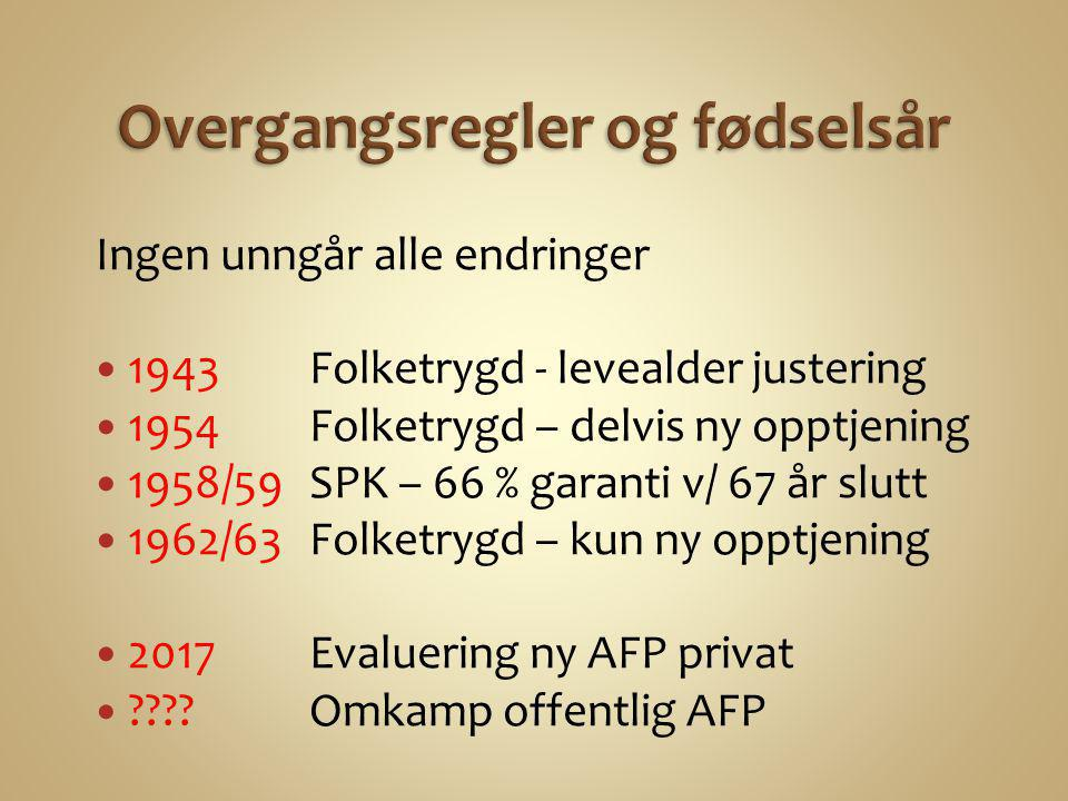 Ingen unngår alle endringer  1943 Folketrygd - levealder justering  1954 Folketrygd – delvis ny opptjening  1958/59 SPK – 66 % garanti v/ 67 år slu