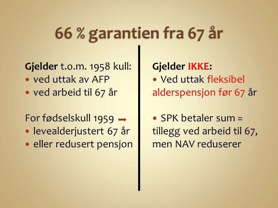 Gjelder t.o.m. 1958 kull:  ved uttak av AFP  ved arbeid til 67 år For fødselskull 1959  levealderjustert 67 år  eller redusert pensjon Gjelder IKK