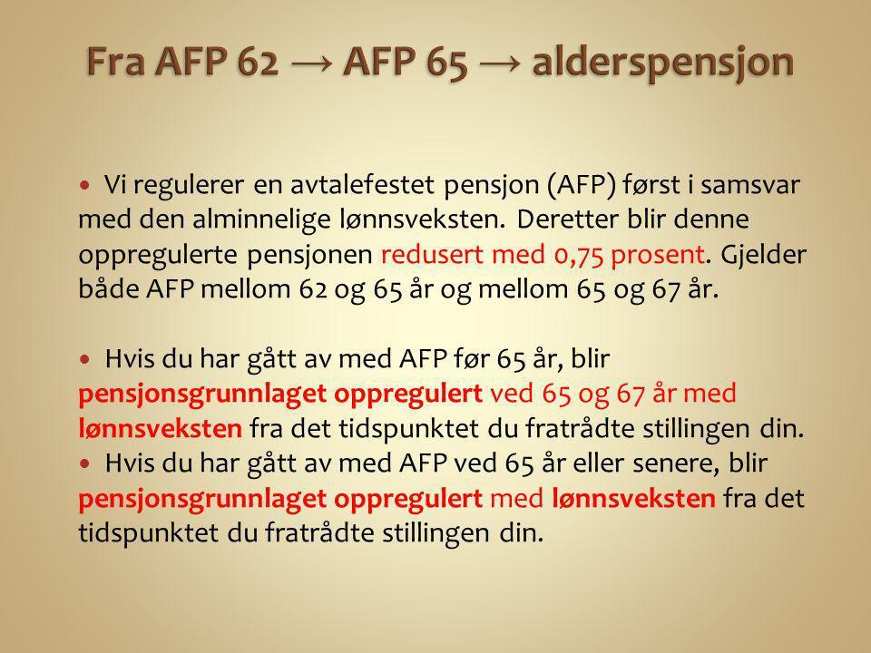  Vi regulerer en avtalefestet pensjon (AFP) først i samsvar med den alminnelige lønnsveksten. Deretter blir denne oppregulerte pensjonen redusert med